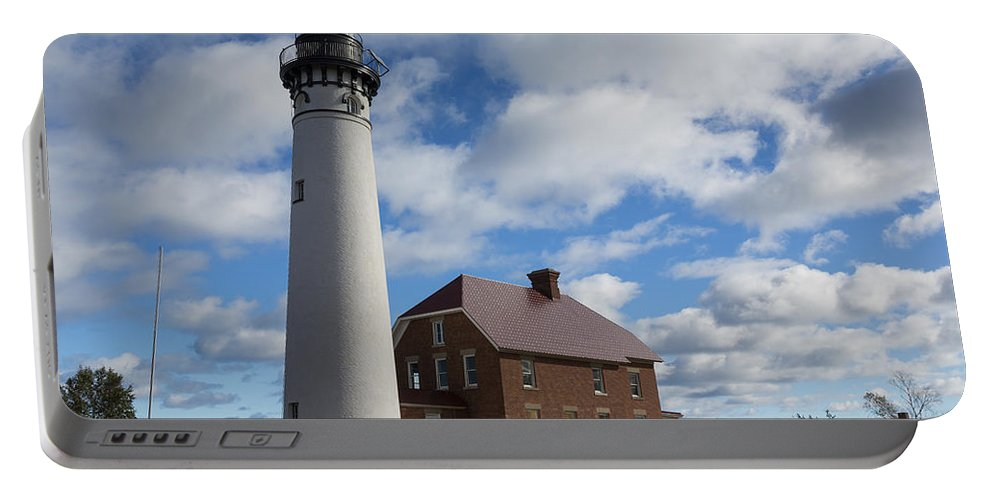 Au Sable Portable Battery Charger featuring the photograph Au Sable Lighthouse 1 by John Brueske