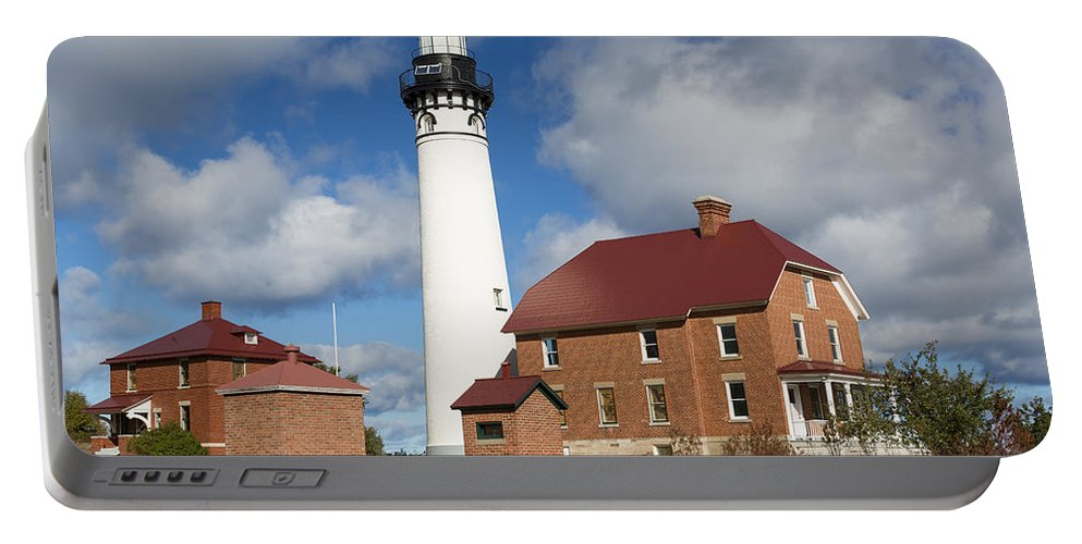 Au Sable Portable Battery Charger featuring the photograph Au Sable Lighthouse 3 by John Brueske