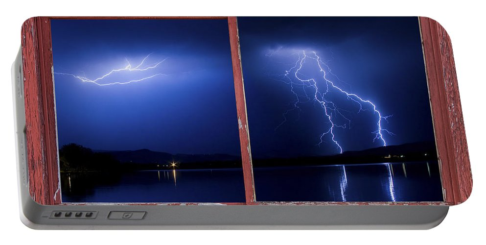 Picture Portable Battery Charger featuring the photograph August Storm Red Barn Picture Window Frame Photo Art View by James BO Insogna