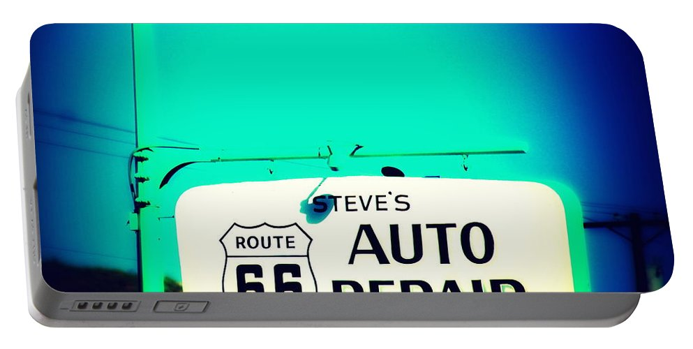 Auto Repair Portable Battery Charger featuring the photograph Auto Repair Sign On Route 66 by Susanne Van Hulst