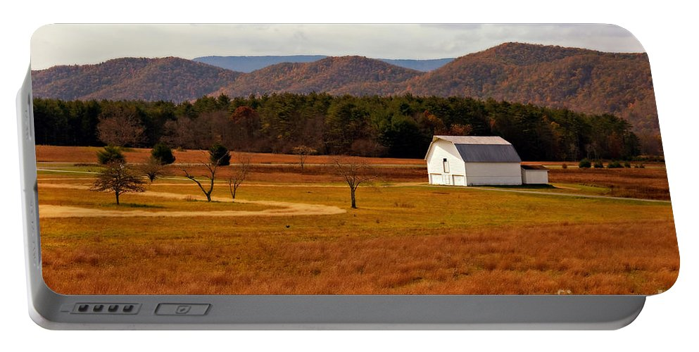 Barn Portable Battery Charger featuring the photograph Autumn Barn In Green Bank Wv by Kathleen K Parker