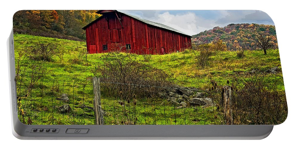 West Virginia Portable Battery Charger featuring the photograph Autumn Barn Painted by Steve Harrington