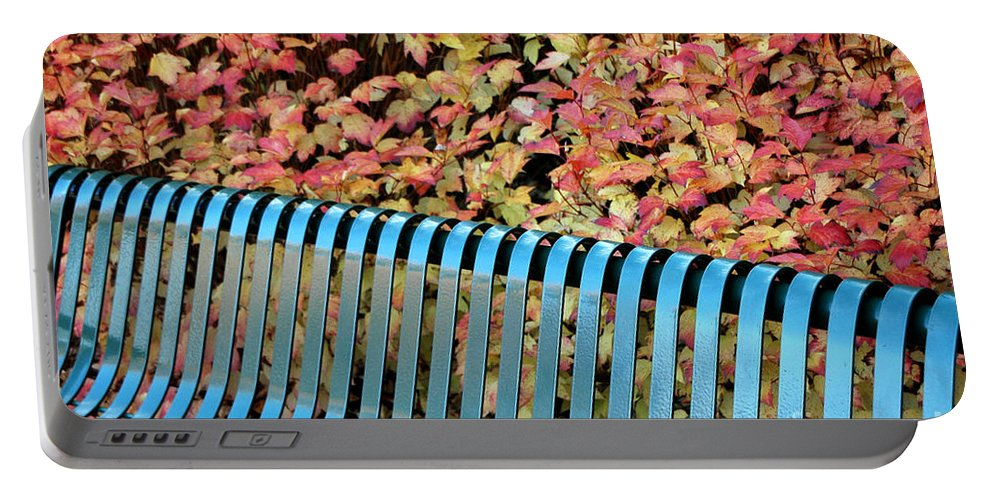 Autumn Portable Battery Charger featuring the photograph Autumn Blue Bench by Mike Nellums