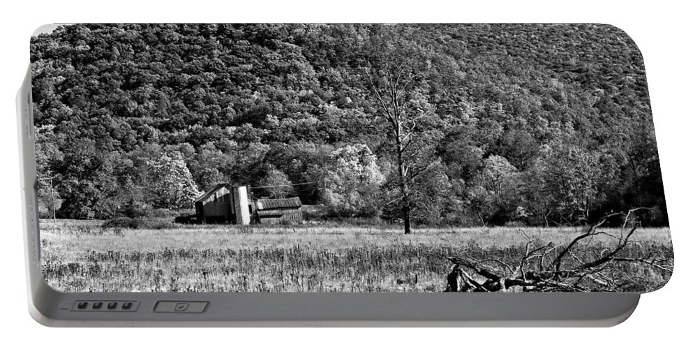 West Virginia Portable Battery Charger featuring the photograph Autumn Farm Monochrome by Steve Harrington