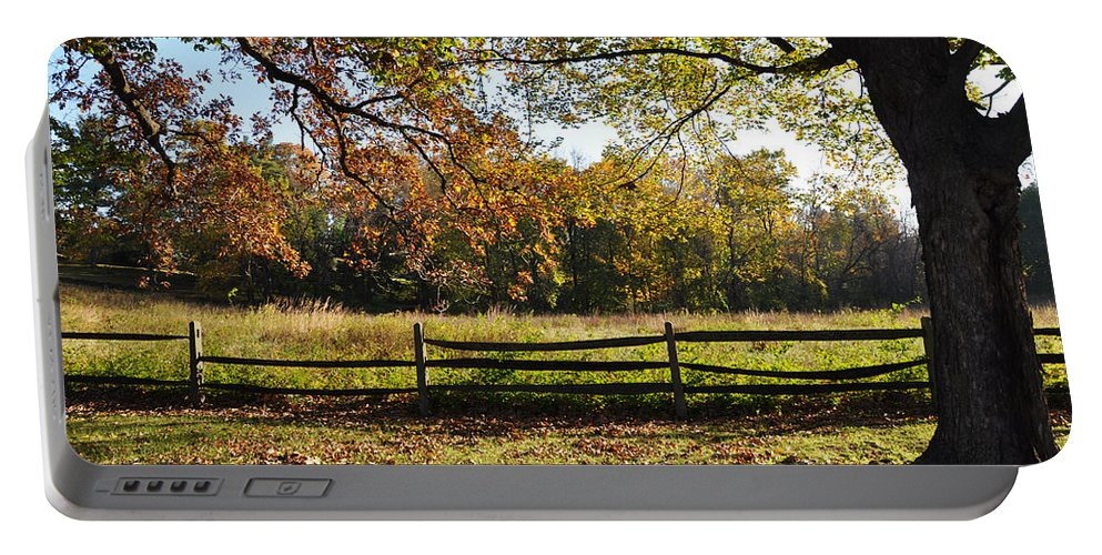 Autumn Portable Battery Charger featuring the photograph Autumn Field In Pennsylvania by Bill Cannon