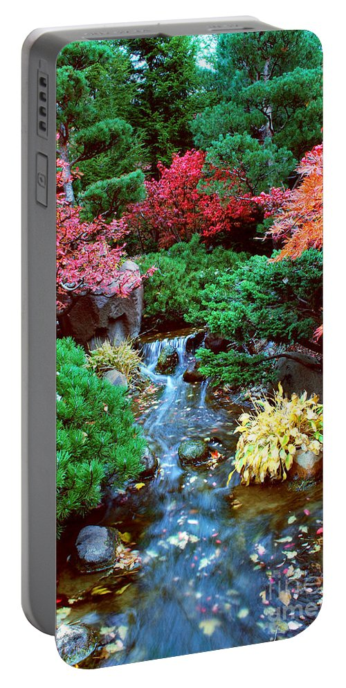 Garden Portable Battery Charger featuring the photograph Autumn Garden Waterfall I by Nancy Mueller