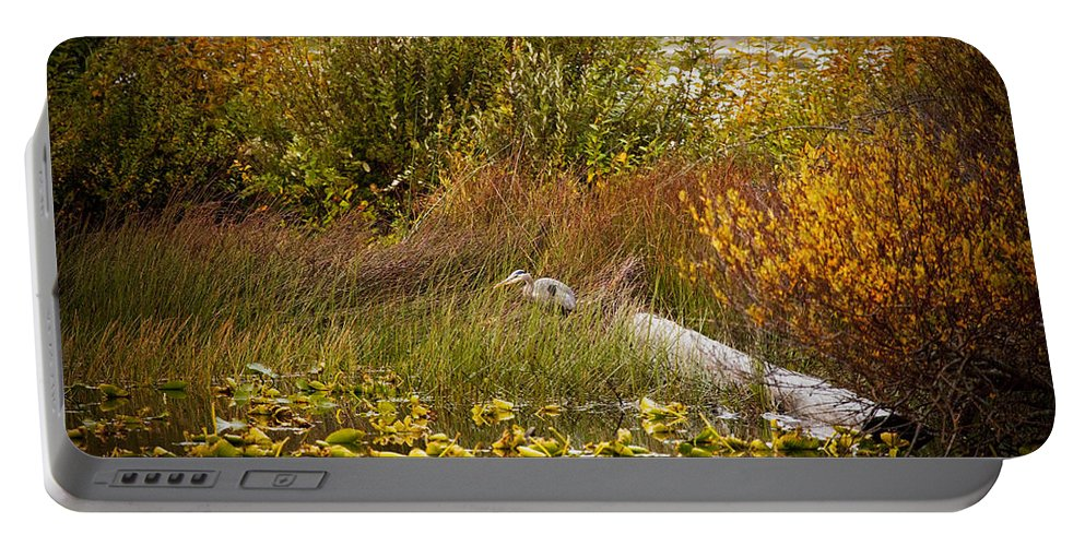 Great Blue Heron Portable Battery Charger featuring the photograph Autumn Hunting by Karen Ulvestad