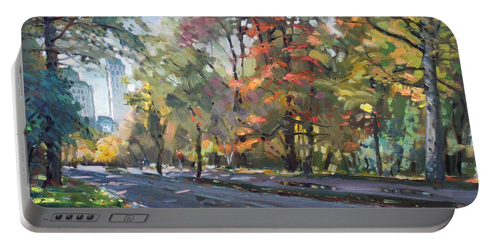 Niagara Falls Portable Battery Charger featuring the painting Autumn In Niagara Falls Park by Ylli Haruni