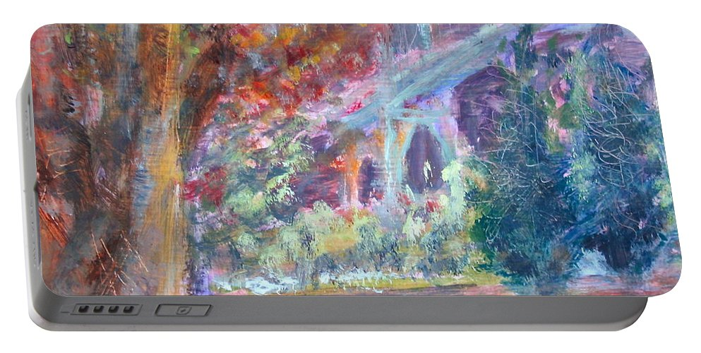 St. Johns Portable Battery Charger featuring the painting Autumn In The Park by Quin Sweetman