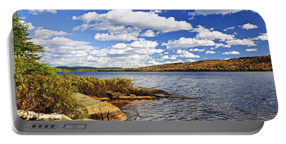 Lake Portable Battery Charger featuring the photograph Autumn Lake Shore by Elena Elisseeva