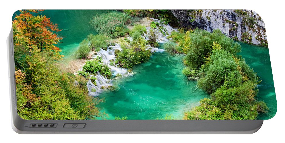 Waterfall Portable Battery Charger featuring the photograph Autumn Landscape by Artur Bogacki