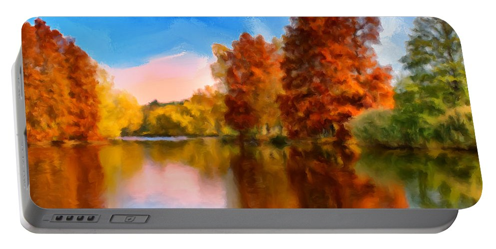 Autumn Portable Battery Charger featuring the painting Autumn On The Lake by Dominic Piperata