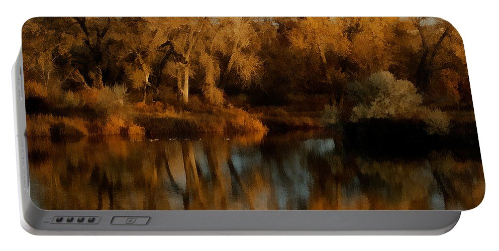 Autumn Portable Battery Charger featuring the digital art Autumn Reflections Painterly by Ernie Echols