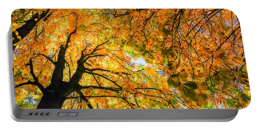 Orange Portable Battery Charger featuring the photograph Autumn Sky by Hannes Cmarits