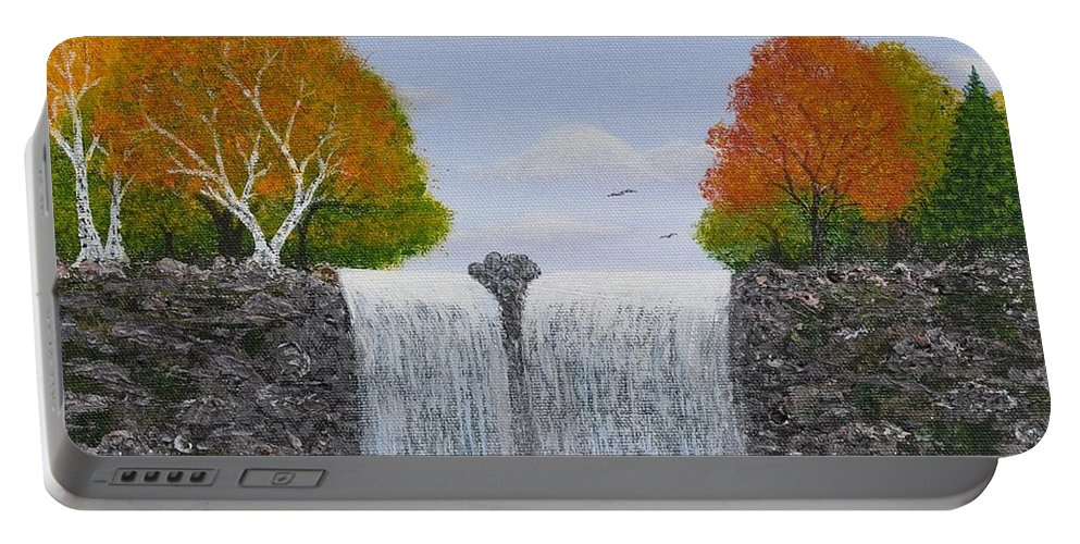 Autumn Landscape Portable Battery Charger featuring the painting Autumn Waterfall by Georgeta Blanaru