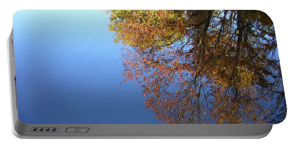 Lake Portable Battery Charger featuring the photograph Autumn's Watery Reflection by Shirley Radebach