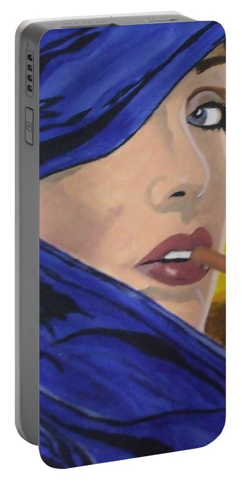 Woman Portable Battery Charger featuring the painting Back In The Day by Steve Cochran