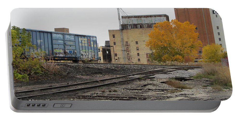 Milwaukee Portable Battery Charger featuring the photograph Back Of Warehouse Train 2 by Anita Burgermeister