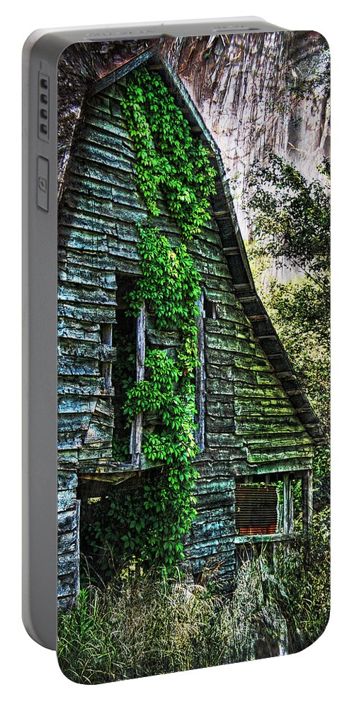 Barn Portable Battery Charger featuring the photograph Back To Nature - Crumbling Barn by Kathy Clark