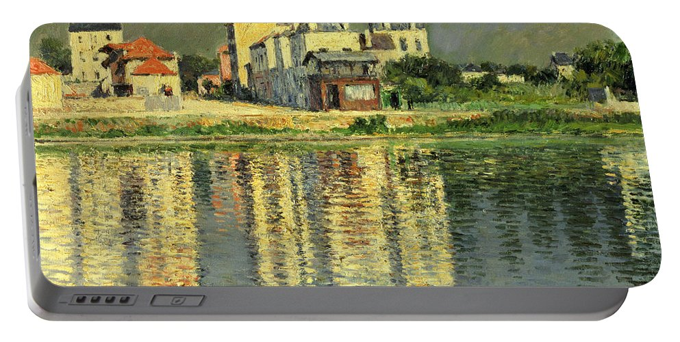 Bord De La Seine A Argenteuil Portable Battery Charger featuring the painting Banks Of The Seine At Argenteuil by Gustave Caillebotte