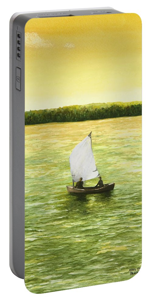 Sailboat Watercolor Painting Portable Battery Charger featuring the painting Bar Harbor Sailboat by Mary Ann King