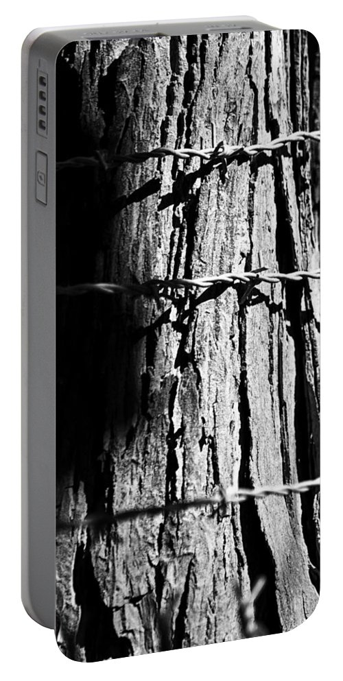 Fence Portable Battery Charger featuring the photograph Barbed by Lauri Novak