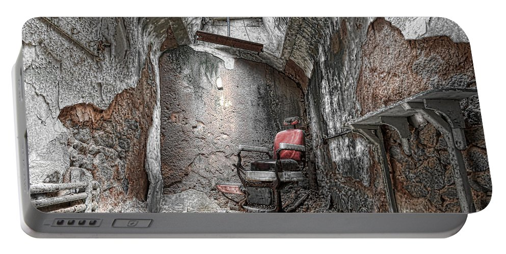 Eastern State Penitentiary Portable Battery Charger featuring the photograph Barber - Chair - Eastern State Penitentiary by Paul Ward