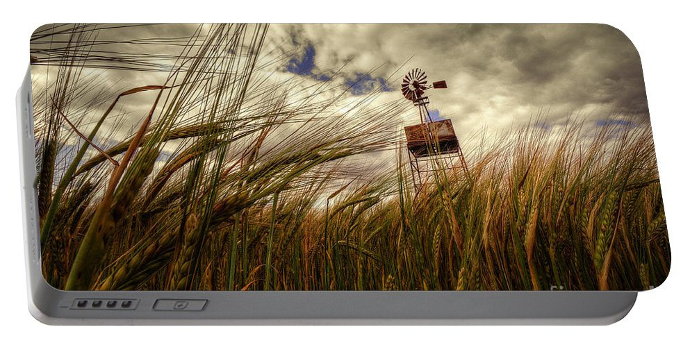Barley Portable Battery Charger featuring the photograph Barley And The Pump by Rob Hawkins