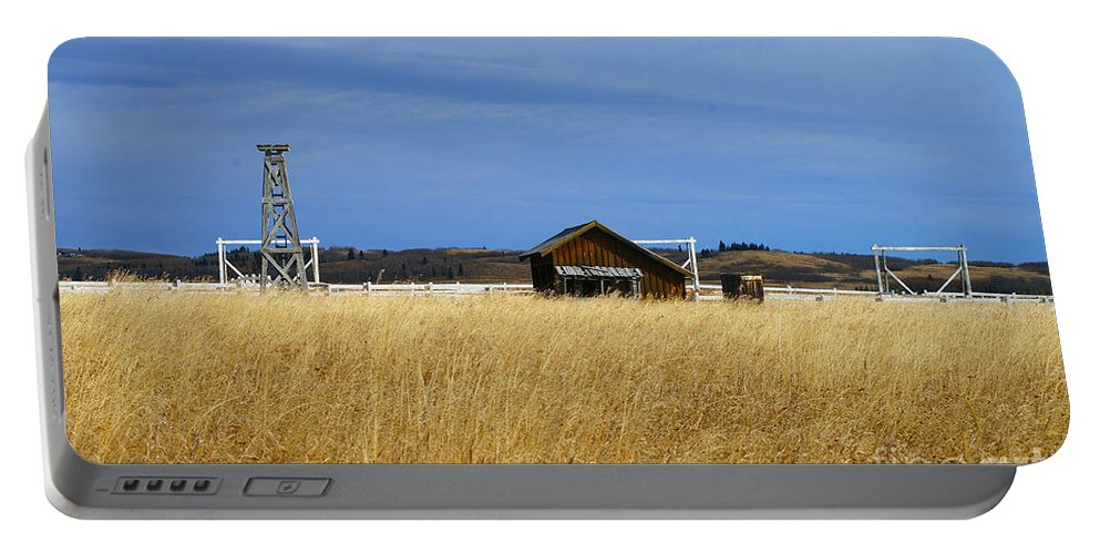 Old Barn Portable Battery Charger featuring the photograph Barn And Windmill Stand by Randy Harris