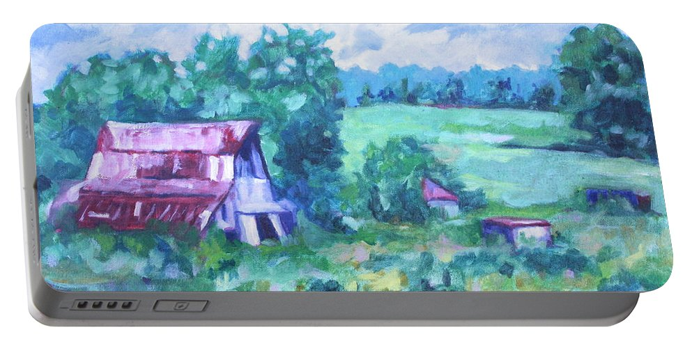 Landscape Portable Battery Charger featuring the painting Barn by Jan Bennicoff