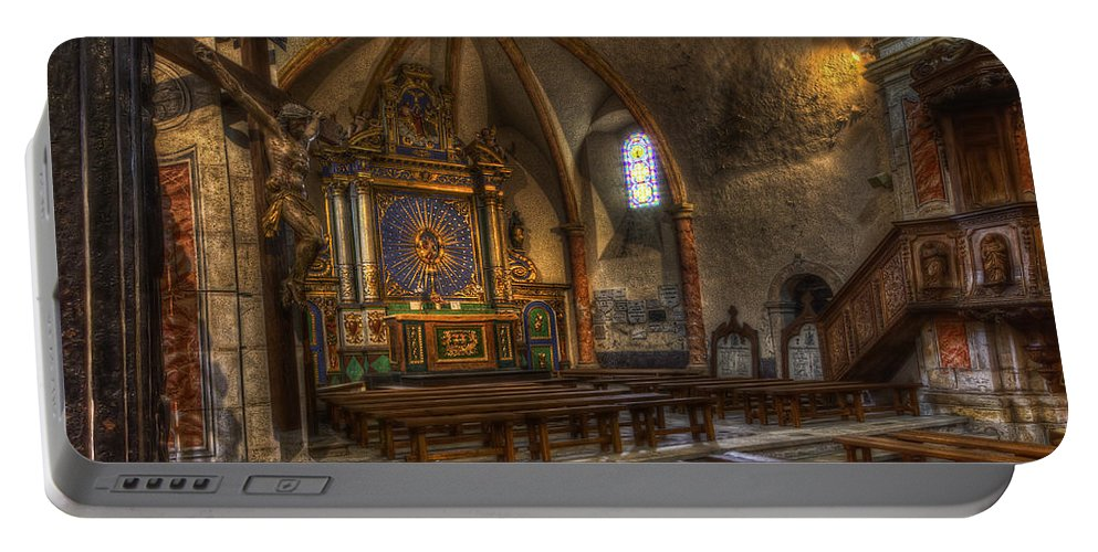Clare Bambers Portable Battery Charger featuring the photograph Baroque Church In Savoire France 2 by Clare Bambers