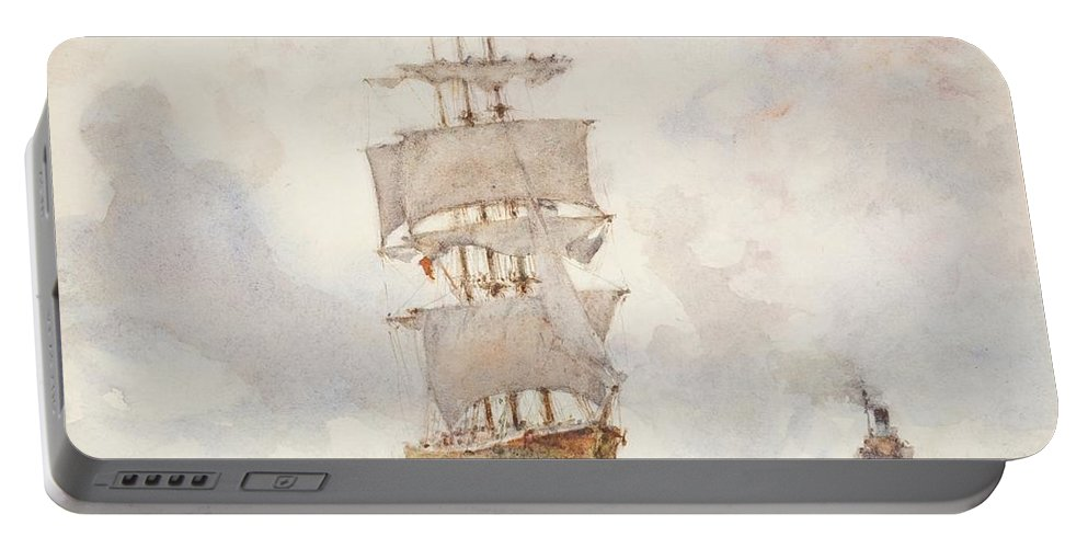 Sailing Boat; Ship; Sails; Square Rigger; Newlyn School Portable Battery Charger featuring the painting Barque And Tug by Henry Scott Tuke