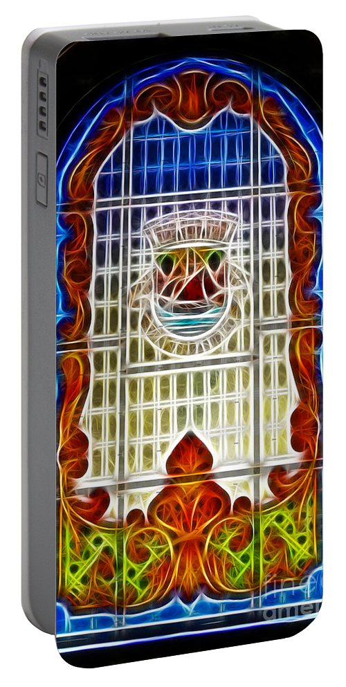 Stained Glass Portable Battery Charger featuring the photograph Barriero Window by Darleen Stry