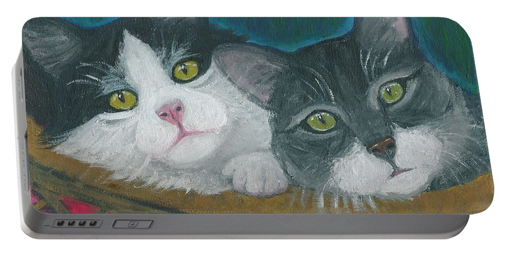 Cat Portable Battery Charger featuring the painting Basket Of Kitties by Ania M Milo