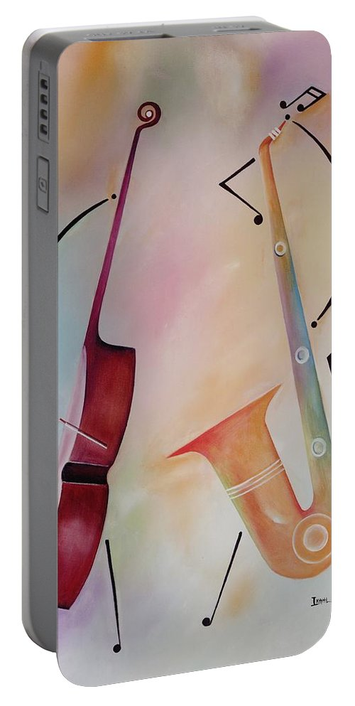 Duet Portable Battery Charger featuring the painting Bass And Sax by Ikahl Beckford
