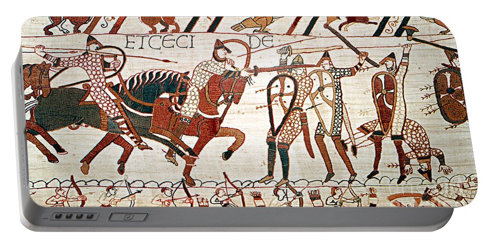 History Portable Battery Charger featuring the photograph Battle Of Hastings Bayeux Tapestry by Photo Researchers