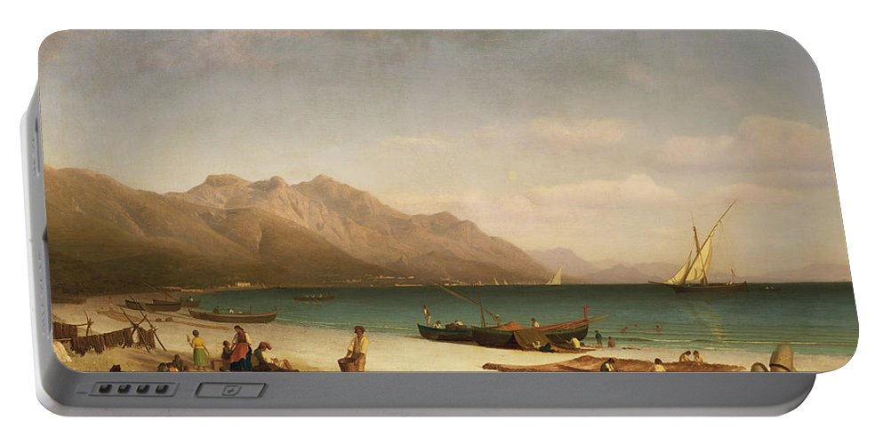 Italian; Coast;coastal; Landscape; Amalfi; Beach; Boat; Fishing; Drying;hanging; Daily Life Scene Portable Battery Charger featuring the painting Bay Of Salerno by Albert Bierstadt