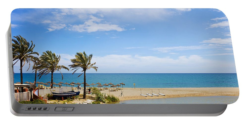 Marbella Portable Battery Charger featuring the photograph Beach And Sea On Costa Del Sol by Artur Bogacki