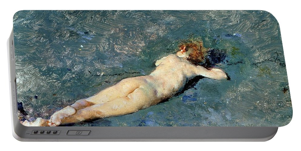 Nude Portable Battery Charger featuring the painting Beach At Portici by Mariano Fortuny y Marsal