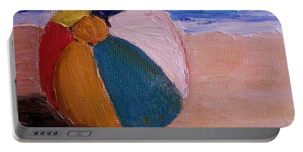 Beach Ball Portable Battery Charger featuring the painting Beach Ball by Diane Elgin