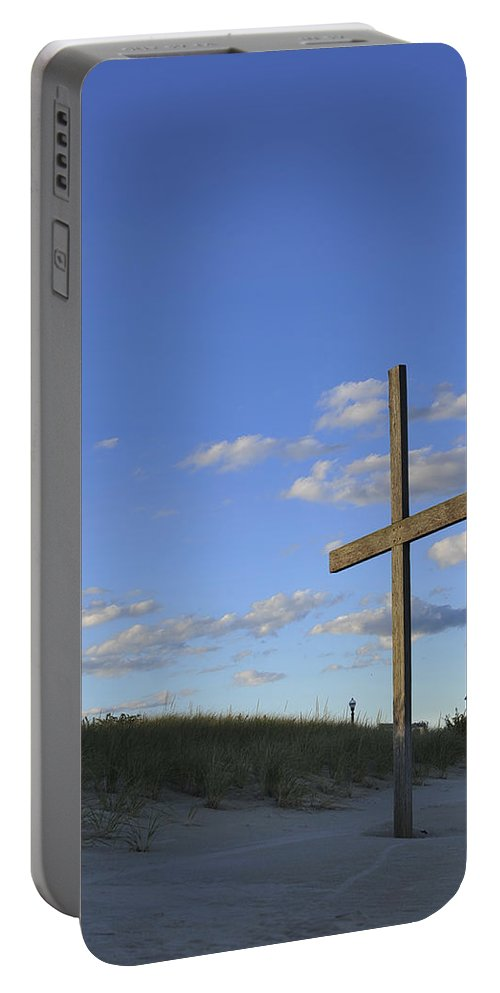 Ocean Grove Portable Battery Charger featuring the photograph Beach Cross by Terry DeLuco