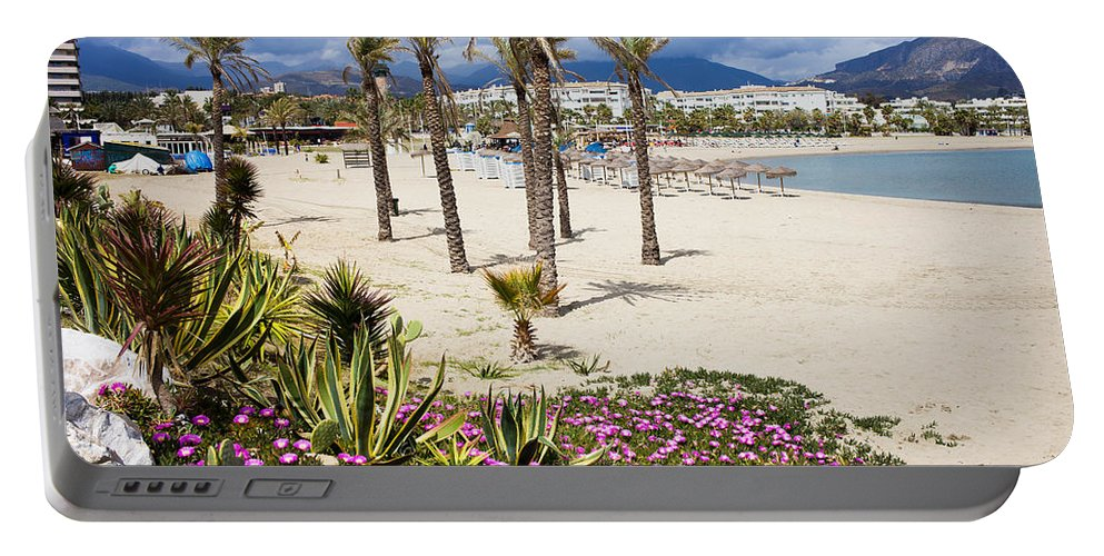 Beach Portable Battery Charger featuring the photograph Beach In Puerto Banus by Artur Bogacki