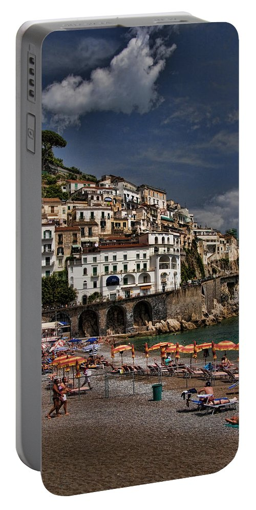Mediterranean Collection Portable Battery Charger featuring the photograph Beach Scene In Amalfi On The Amalfi Coast In Italy by David Smith