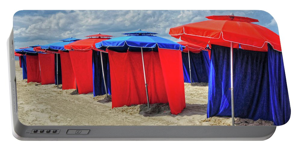 Beach Portable Battery Charger featuring the photograph Beach Umbrellas Nice France by Dave Mills