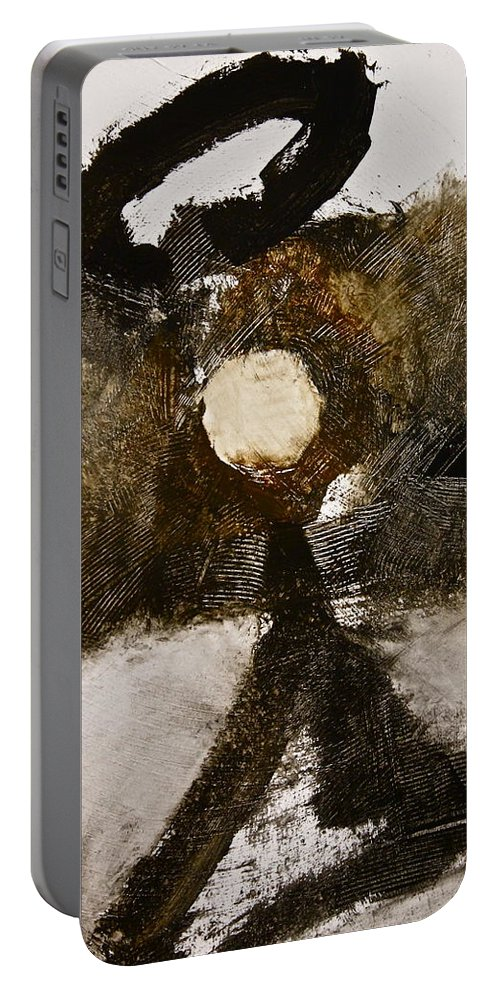 Abstract Paintings Portable Battery Charger featuring the painting Beachcomber by Cliff Spohn