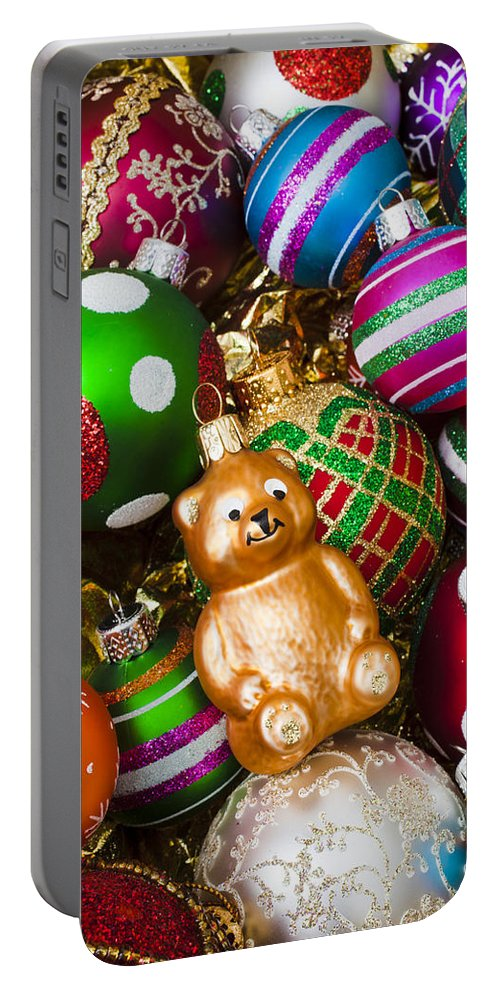 Bear Colorful Ornaments Portable Battery Charger featuring the photograph Bear Ornament by Garry Gay