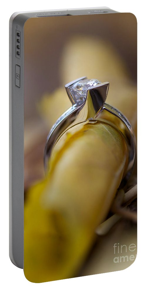 Solitaire Diamond Portable Battery Charger featuring the photograph Beautiful Engagement Four by Brooke Roby