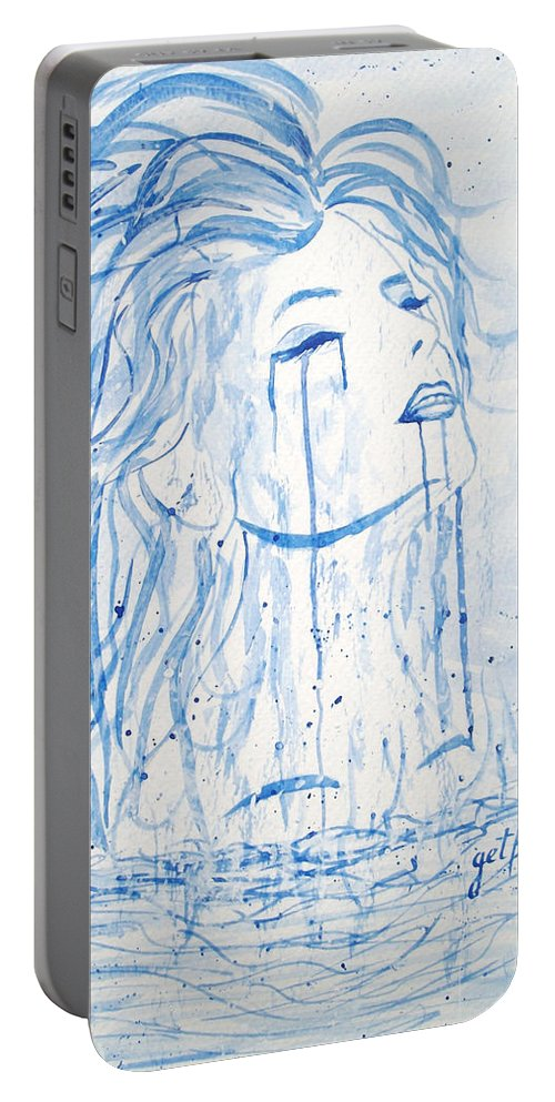 Woman Face Portable Battery Charger featuring the painting Beautiful Sea Woman Watercolor Painting by Georgeta Blanaru