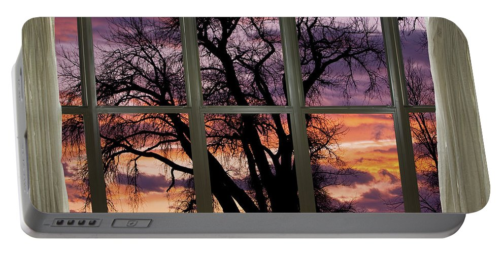Window Portable Battery Charger featuring the photograph Beautiful Sunset Bay Window View by James BO Insogna