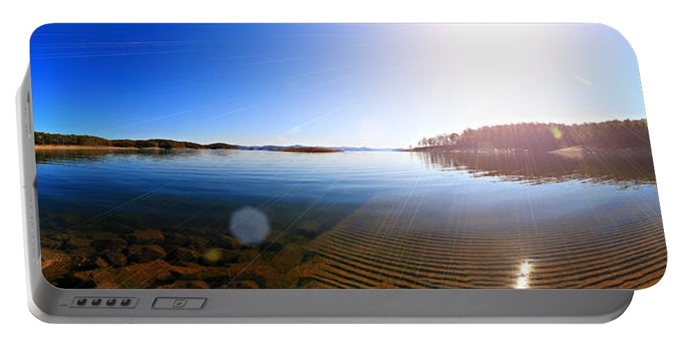 Beavers Bend State Park Portable Battery Charger featuring the photograph Beavers Bend State Park-lake- Oklahoma Panorama by Douglas Barnard